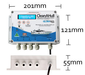 CleanAHull Ultrasonic Antifouling Pod Height: 70mm Width: 81mm Length: 99mm