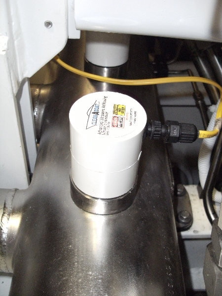 CleanABoat Ultrasonic Antifouling Transducer on Cross Pipe