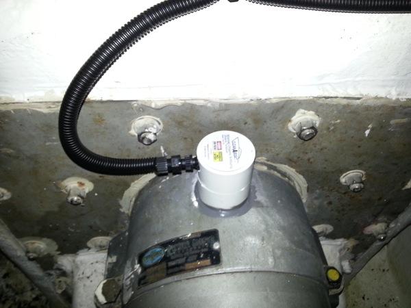 CleanABoat 50W MegaSonic Ultrasonic Transducer mounted to jet drive on 80\' Montifino